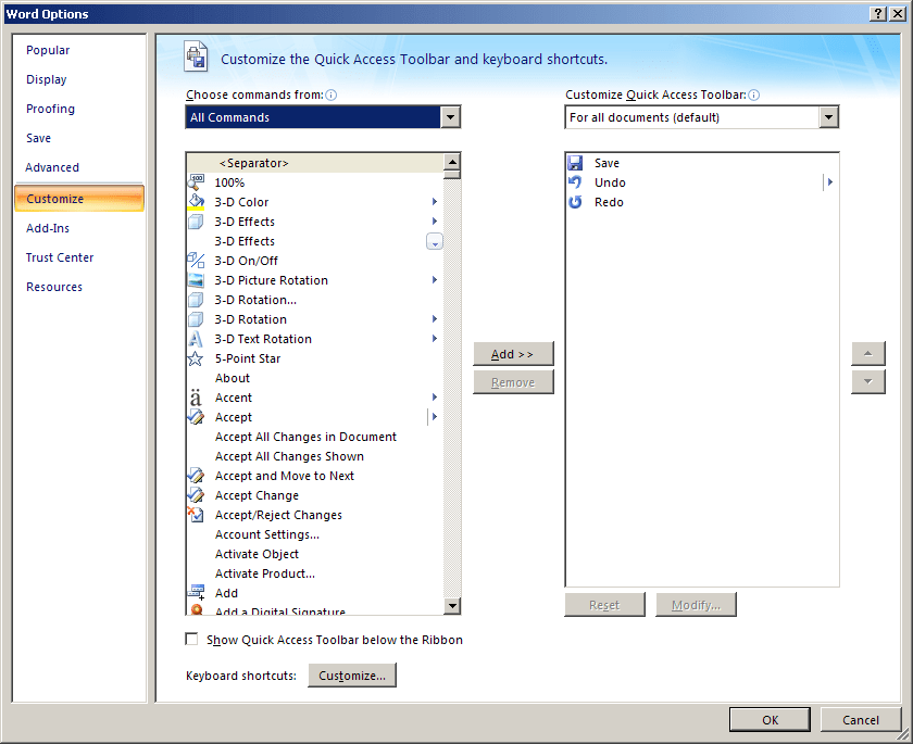 Word 2007 Options