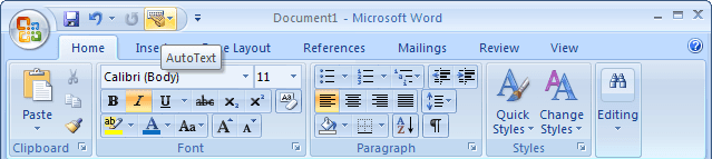 AutoText in Word 2007
