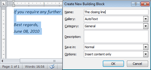 Quick Part in Word 2010