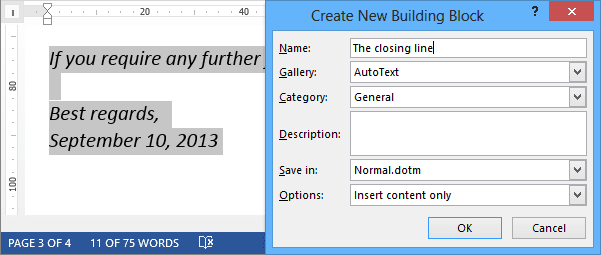 Quick Part in Word 2013