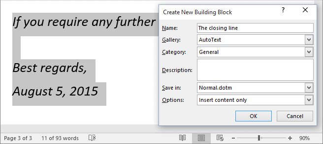 Quick Part in Word 2016