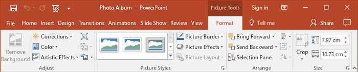 Picture Tools toolbar in PowerPoint 2016