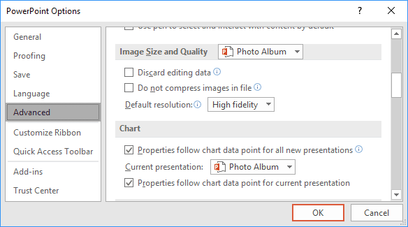 Advanced Options in PowerPoint 2016