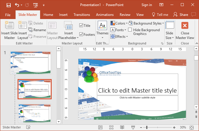 Example of Master slide style in PowerPoint 2016