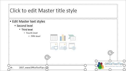 Master slide elements in PowerPoint 2016