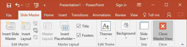 Slide Master toolbar in PowerPoint 2016