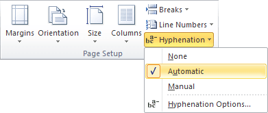 Automatic Hyphenation in Word 2010