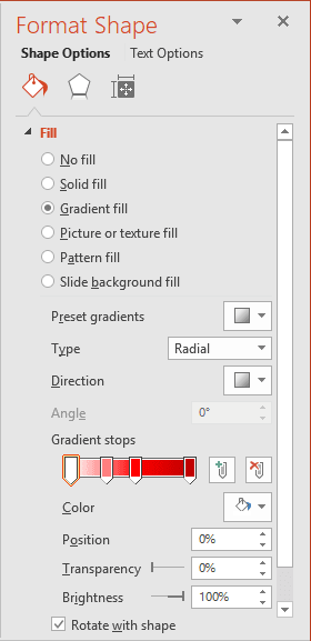 Gradient fill for shape in PowerPoint 2016