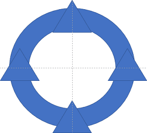 Four triagles in circle shape in PowerPoint 365