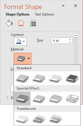 Material of 3D format in PowerPoint 2016