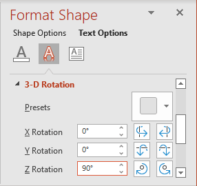 Shapes rotation in PowerPoint 365