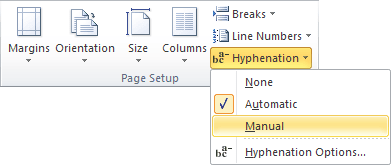 Manual hyphenation in Word 2010