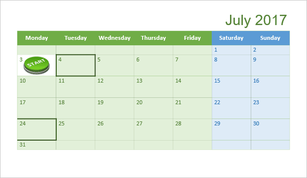 Calendar for one month in PowerPoint 2016