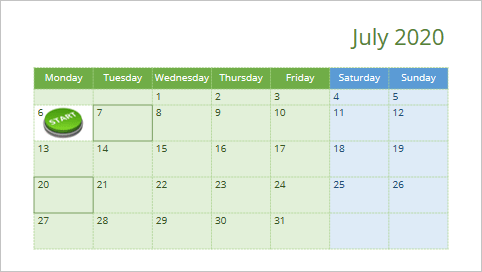 Calendar for one month in PowerPoint 365