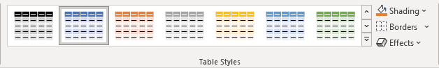 Table Styles in PowerPoint 365
