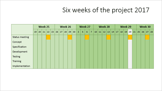 Calendar multi-week in PowerPoint 2016