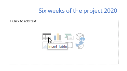 Insert Table in PowerPoint 365