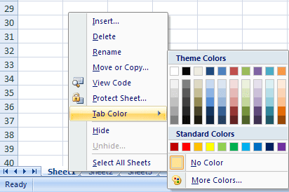 spreadsheet tabs Color in Excel 2007
