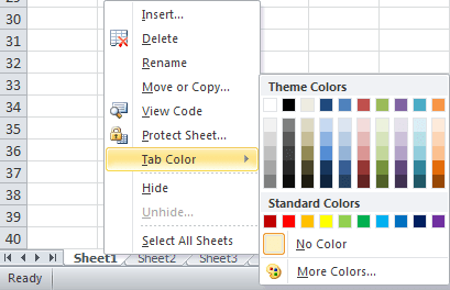 spreadsheet tabs Color in Excel 2010