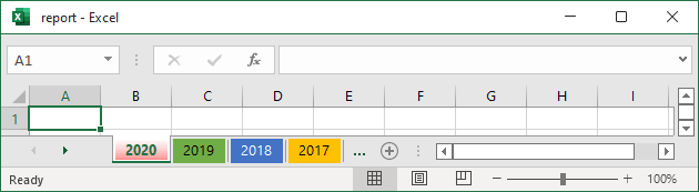 spreadsheet tabs Color in Excel 365
