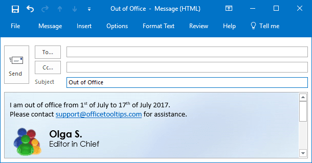Out of Office message in Outlook 2016