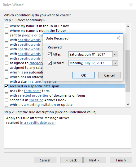 Date Received in Outlook 2016