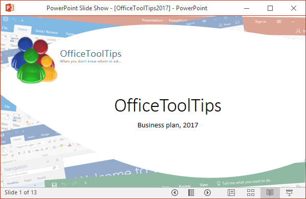 Reading view in PowerPoint 2016