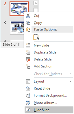 Hide popup menu in PowerPoint 2016