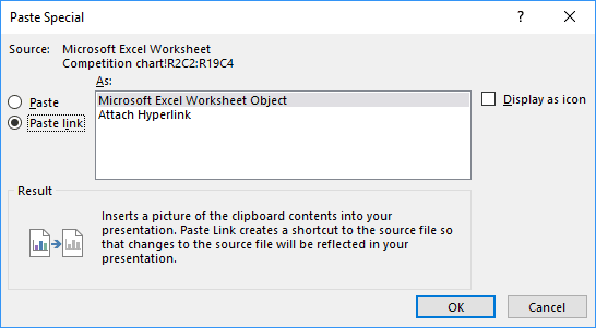 Paste special dialog box in PowerPoint 2016