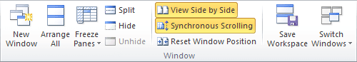 Synchronous Scrolling in Excel 2010