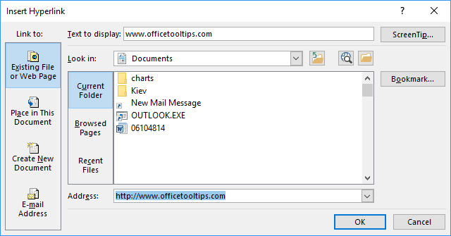 Insert Hyperlink in PowerPoint 2016
