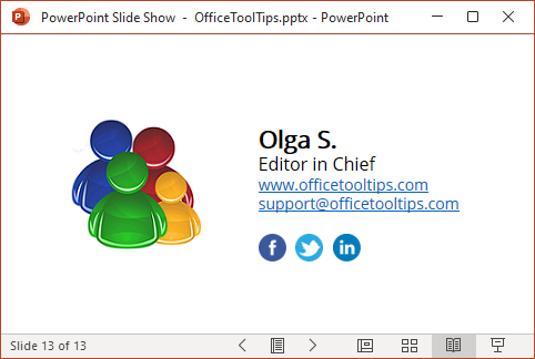 Slide show in PowerPoint 365