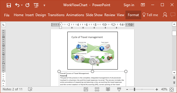 Notes view in PowerPoint 2016