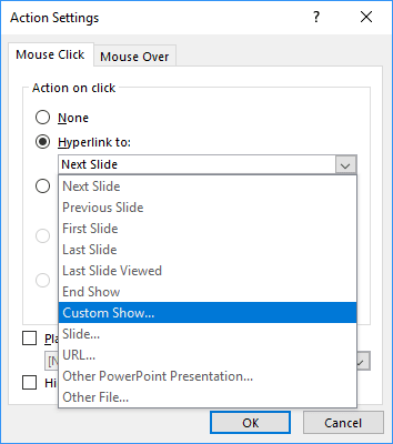 Action Settings in PowerPoint 2016