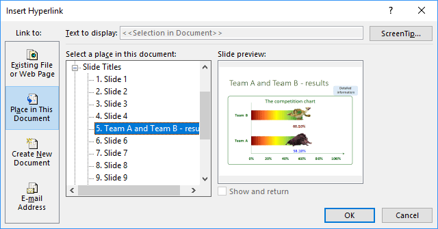 Hyperlinks in PowerPoint 2016