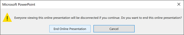 End Online Presentation dialog box in PowerPoint 365