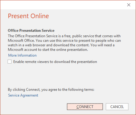 Office Presentation Service in PowerPoint 2016
