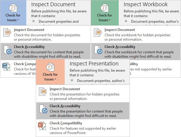 Check Accessibility in Office 2016