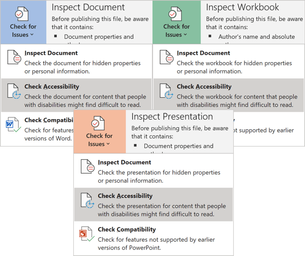 Check Accessibility in Office 365