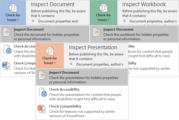 Inspect Document in Office 2016