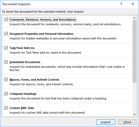 Document Inspector in Office 2016