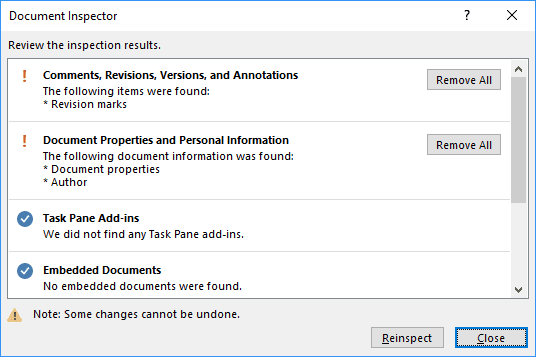 Document Inspect in Office 2016