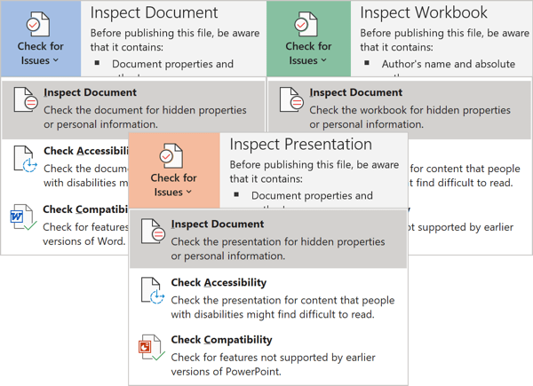 Inspect Document in Office 365