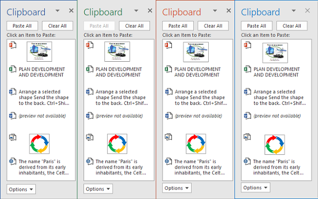 Microsoft Office Clipboard in Office 2016