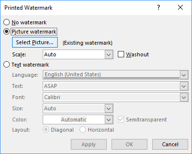 Picture Watermark in Word 2016
