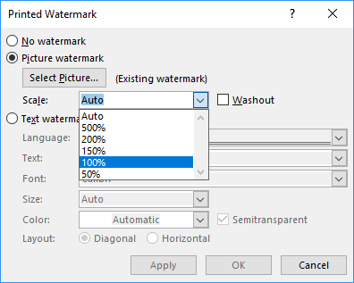 Picture Watermark Scale in Word 2016