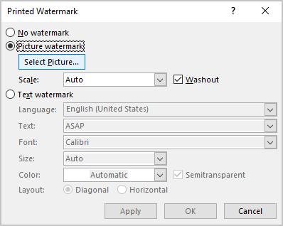 Picture Watermark in Word for Microsoft 365
