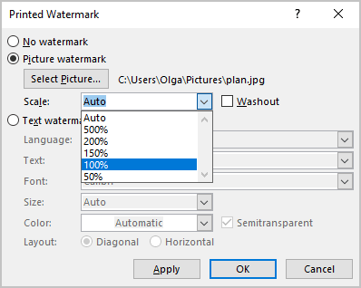 Picture Watermark Scale in Word for Microsoft 365