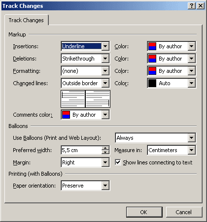 Track Changes in Word 2003