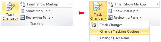 Track Changes menu in Word 2010